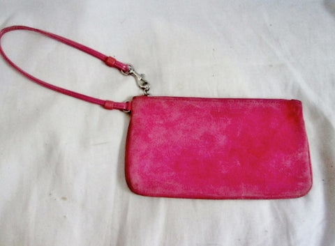 COACH Suede Wristlet Coin Purse Wallet Clutch Baguette BUBBLE GUM PINK Pouch