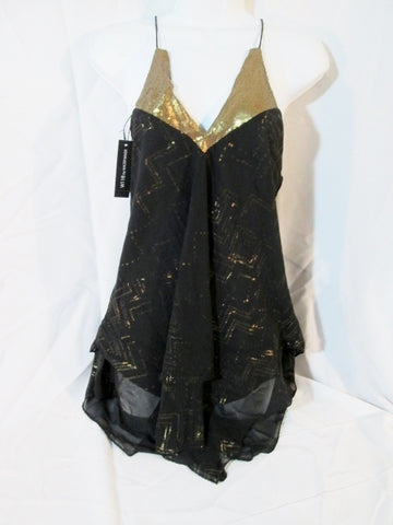 NEW W118 by WALTER BAKER RACHELLE TOP S Dress BLACK GOLD Sequin $138