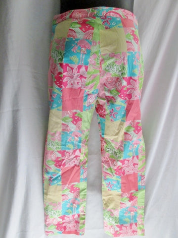 Womens LILLY PULITZER Cotton Pant PATCHWORK FLAMINGO 0 PINK GREEN Preppie Capri