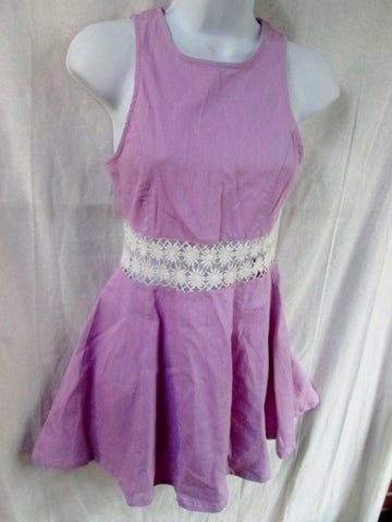 WOMENS TOBI Cotton Mini Dress Sleeveless S Purple Lavender Lace Violet