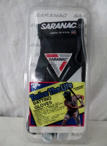 NEW SARANAC Leather TWICE THE LIFE BATTING Glove BLACK WHITE M - Left Hand