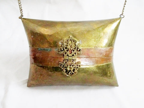 Handmade Case Shoulder Bag Satchel Ethnic Box Purse BRASS Mini GOLD COPPER