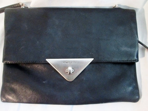 RENATO ANGI FIRENZE Italy BOUTIQUE leather envelope bag flap purse BLACK