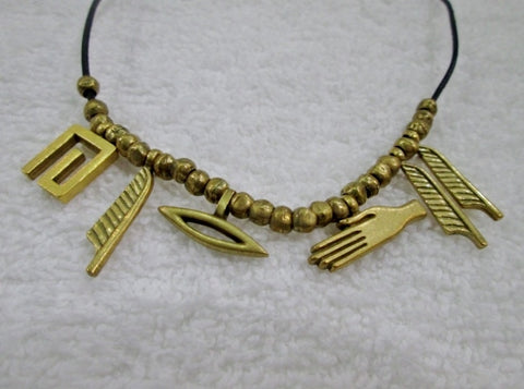 Adjustable EGYPTIAN Style BRONZE BRASS Fetish FEATHER HAND Pendant NECKLACE Charm REBIRTH