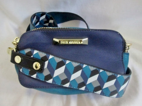 STEVE MADDEN vegan mini satchel shoulder zip crossbody swingpack BLACK TEAL BLUE