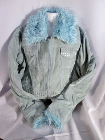 NEW Girls Junior Youth JINGMENG JM  Faux Fur Velvet JACKET Coat L BLUE Sequin NWT