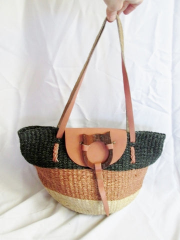 Woven Leather Basket CAT Sling Jute Shoulder Market Bucket Bag BROWN STRIPE BLACK
