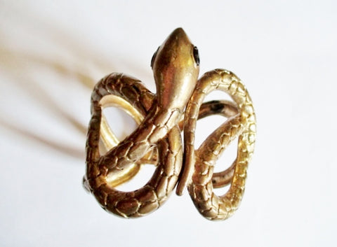 SNAKE PYTHON SERPENT Bracelet Shackle Cuff Bangle Arm Band GOLD Hinged