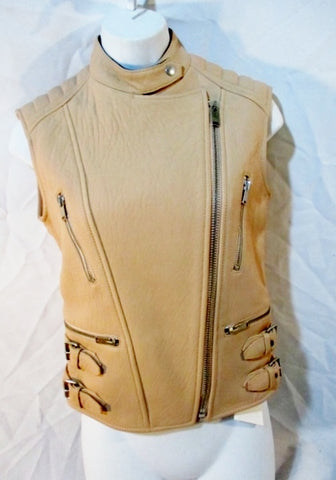 New CELINE PARIS LEATHER Moto Riding vest biker jacket coat 38 NUDE Womens