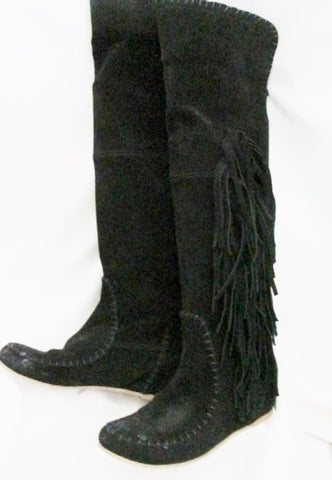 Womens GABRIELLI ITALY Suede Fringe Boots Moccasin Hippie BLACK Leather 6.5 37