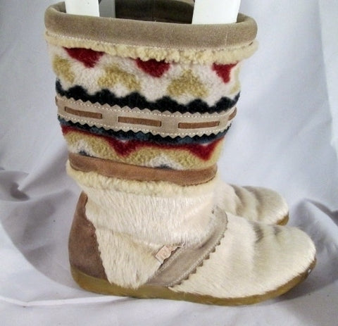 Mens Womens TECNICA ITALY Sherpa Mukluk Pony Calf Hair Fur BOOT WHITE 42 6 8 Ethnic
