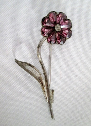 Signed STERLING SILVER FLOWER Jewelry Brooch Pin PURPLE JEWEL 6.5g