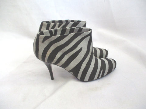 STELLA MCCARTNEY Heeled Boot Bootie 36.5 BLACK GREY TIGER ZEBRA STRIPE Womens