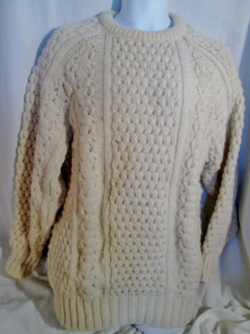 Mens DUBLIN WOOLLEN CO Hand Loomed IRELAND Sweater Fisherman 44 CREME WHITE Knit