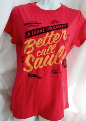 WOMENS BETTER CALL SAUL IN LEGAL TROUBLE T-Shirt Tee Top L Red Breaking Bad