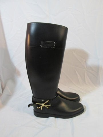 MOSCHINO ITALY CHEAP CHIC Bow Wellies Rain Boot Riding 40 / 9.5 BLACK Waterproof Womens