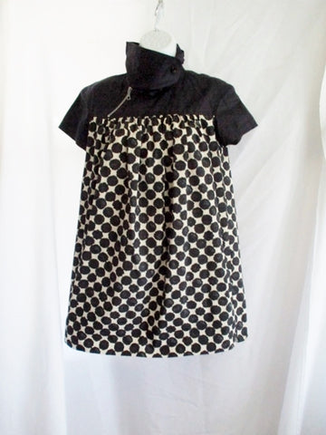 DRIES VAN NOTEN Silk Tunic Blouse Top Shirt 36 /4 BLACK DOT Beige