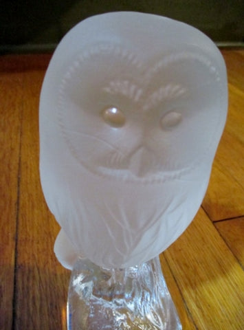 "7"" Nybro 1985 Sweden Crystal Figurine Frosted Clear Glass OWL Figurine Collectible Paperweight"