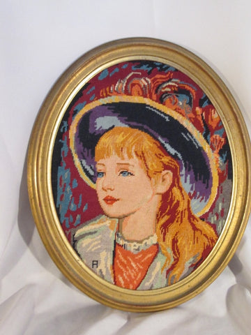Vintage Handmade OVAL FRAMED GIRL BLONDE Fashion Hat Needlepoint Framed Art