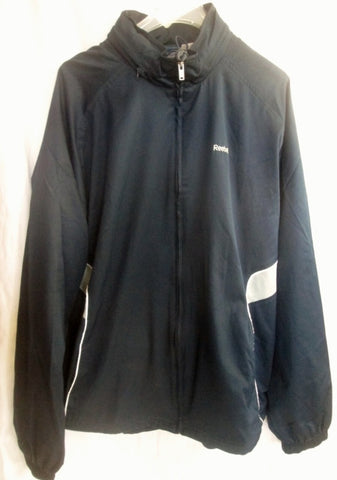 MENS REEBOK Fitness Running Mesh Windbreaker Jacket Coat Parka BLUE XL Hood
