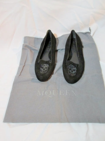 NEW ALEXANDER MCQUEEN Suede SKULL Moc Loafer Shoe 36 6 BLACK Leather Sequin