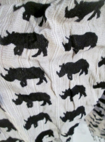 Mens Womens ICING RHINO RHINCEROS Jungle NECK Warmer SCARF TAN BLACK Hipster Fringe