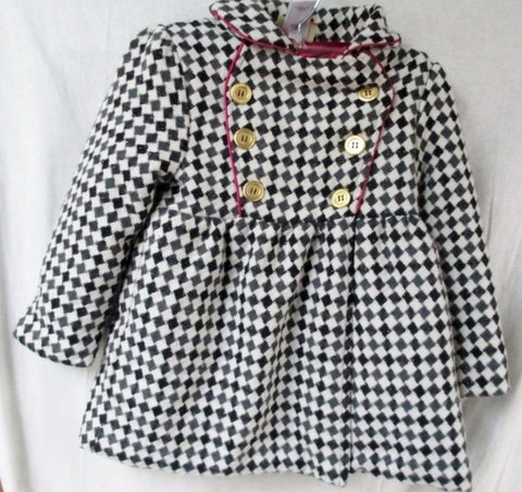 Girls Junior Youth PENELOPE MACK Dress JACKET Coat PARKA 6 BLACK WHITE CHECK