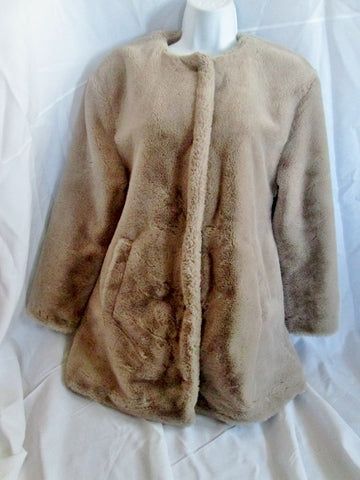 Womens ZARA TRF COLLECTION Faux FUR Vegan jacket coat S TAUPE BROWN BEIGE