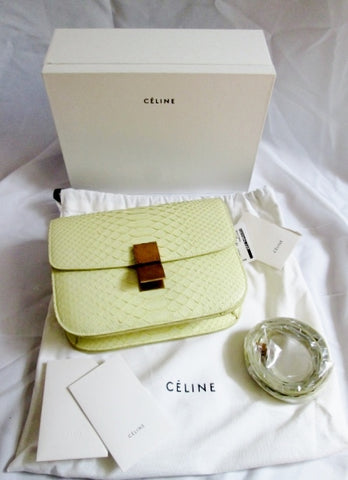 NEW CELINE MEDIUM FLAPBAG LIEGE LAMBSKIN Snakeskin PRIMROSE Bag Purse