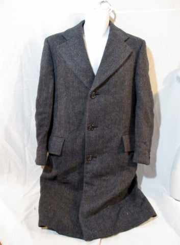 Mens HART SCHAFFNER MARK Wool Herringbone peacoat jacket M 43 BLACK