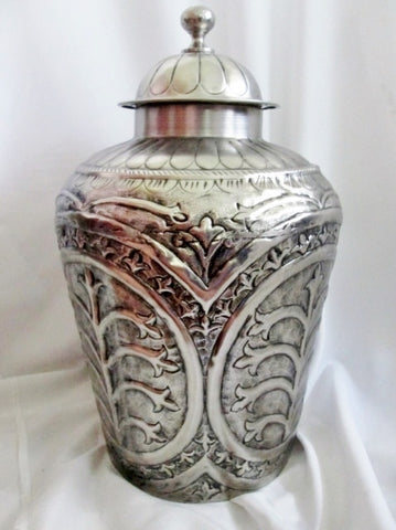 "19"" Textured Metal Jug Can Container Ethnic SILVER Primitive STORAGE ORGANIZER Rustic"