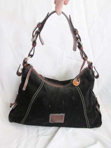 DOONEY & BOURKE Suede Leather Hobo Oversized Satchel Shoulder Bag BLACK BROWN Slouch