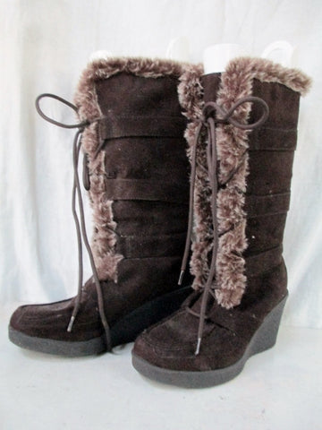 Womens AMERICAN EAGLE OUTFITTERS Sherpa Mukluk Vegan BOOTS 6.5 BROWN