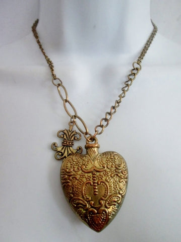 "16"" HEART CHARM Fleur De Lis PENDANT Necklace Chainlink LOVE Soulmate"