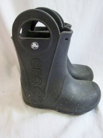 Boys Girls Toddler CROCS Wellies Rain Boots Rainboots Foul Weather BLACK 11 Vegan Infant