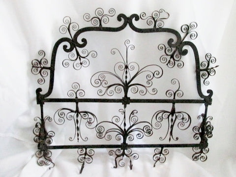 "Handmade 26"" Wrought Cast Iron Stand Filigree Wall ART BLACK Jewelry Display Primitive"