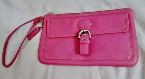 COACH Leather Wristlet Coin Purse Wallet Clutch Baguette BUBBLE GUM PINK Pouch