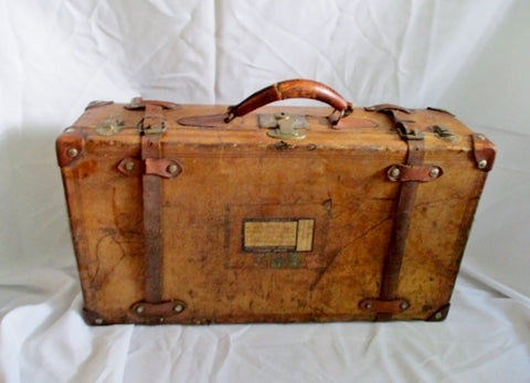 Vintage Antique Leather SUITCASE Travel Hard Case BROWN Luggage Decor Rustic
