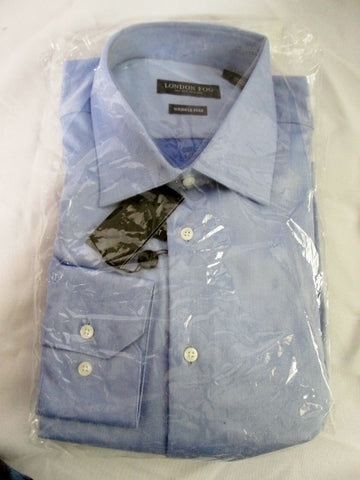 NEW LONDON FOG Wrinkle Free Dress Shirt 16 - 34/35 BLUE MODERN FIT Mens