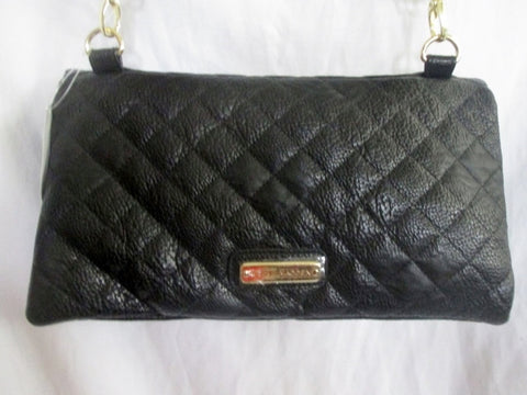 NEW NWT STEVE MADDEN Quilted CLUTCH Leather Shoulder Bag BLACK Purse