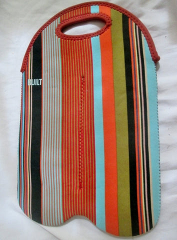BUILT NY STRIPED TWO BOTTLE WINE BEER TOTE Bag Carryall Clutch Travel ORANGE BLUE