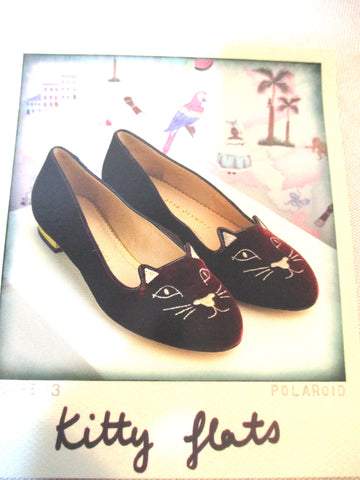 NEW CHARLOTTE OLYMPIA KITTY FLAT VELVET Embroidered Shoe 36 BURGUNDY RED CAT