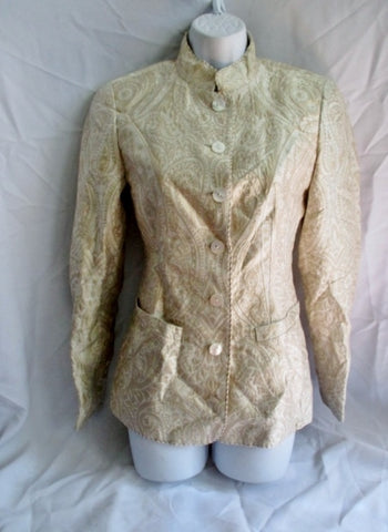 NINA MCLEMORE PAISLEY Silk Button Cardigan Jacket Coat 2 GOLD Womens