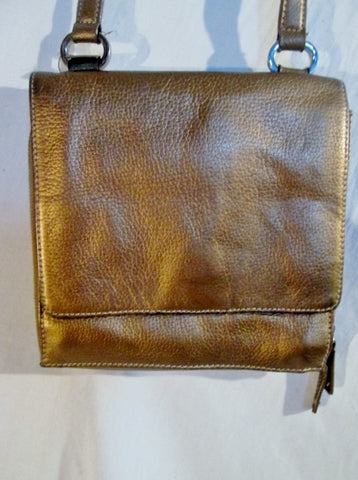 TIGNANELLO Leather Shoulder Bag Stitch Purse Swingpack Wallet GOLD Metallic M