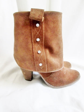 Womens ZIGI SOHO RODEO SHEATH Suede Ankle Boots Booties RHINESTONE 7.5 BROWN Boho