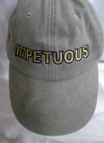 "ADAMS ""IMPETUOUS"" embroidered baseball cap hat Cotton KHAKI One Size OS"