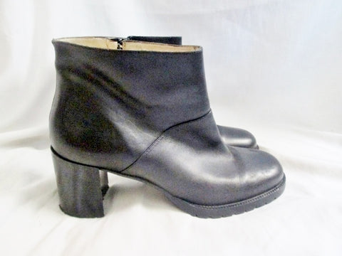 Womens J. CREW ITALY Leather Ankle BOOT Booties Shoes BLACK 10 Hipster