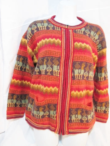 Womens ARCOHI'S Sweater Alpaca Cardigan LLAMA Alpaca Ethnic L RED ORANGE Peruvian