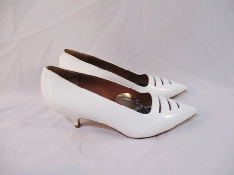 CELINE PARIS ITALY PUMP LEATHER 50 Shoe WHITE 37 / 6.5 Kitten Heel Womens EUC