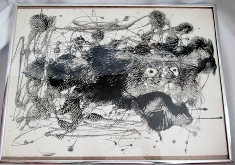 Signed 1986 WILLIAM FREDERICKSEN Original PAINTING Norway MONSTER BEAST Black White